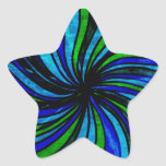 Blue Lime Abstract - All roads lead here Star Stickers