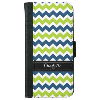 Blue Lime Chevron Pattern Monogram iPhone 6 Wallet Case