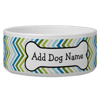 Blue & Lime Green Chevron Pattern with Dog Bone Pet Bowls