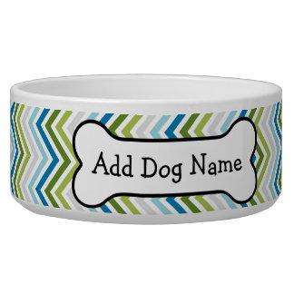 Blue & Lime Green Chevron Pattern with Dog Bone Pet Bowls