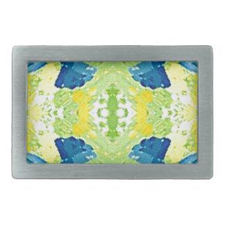 Blue Lime Green Modern Artistic Abstract Belt Buckles