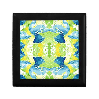 Blue Lime Green Modern Artistic Abstract Small Square Gift Box