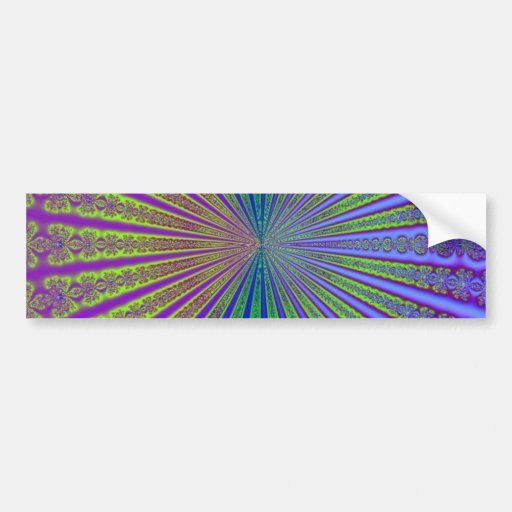 Blue Lime Green Purple Abstract Fractal Tunnel Bumper Sticker