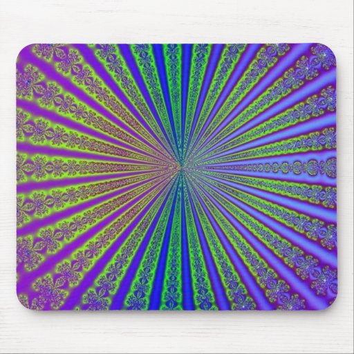 Blue Lime Green Purple Abstract Fractal Tunnel Mousepads