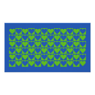 Blue / Lime Heart Pattern poster