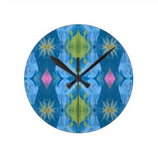 Blue Lime Starburst tribal Pattern Round Clock