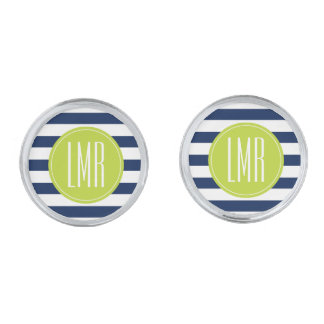 Blue Lime Stripes Pattern Contemporary Monogram Silver Finish Cufflinks