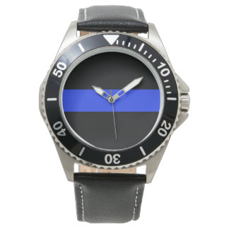 Blue Line Black Leather Watch