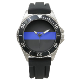 Blue Line Black Rubber Watch