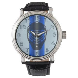 Blue Line Goalie Mask Hockey Wrist Watch