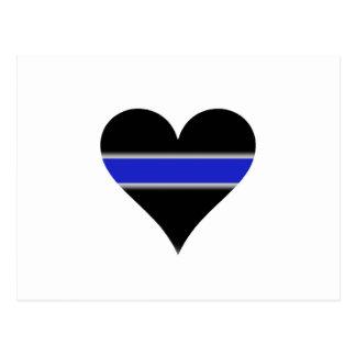 Blue line heart postcard