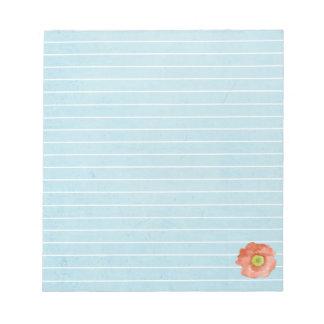 Blue Lined Notepad Orange Poppy Watercolor Flower