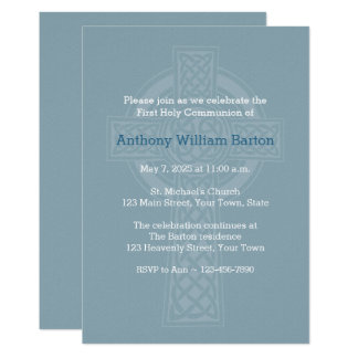 Blue Linen Look with Cross Religious Invitation