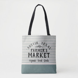 Blue Linen Stripes Custom Farmer's Market Tote