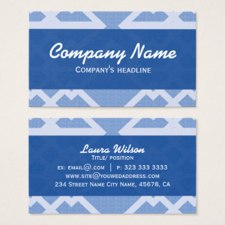 Blue Lines Pattern Elegant Professional Business Card