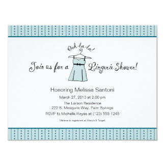 Blue Lingerie Bridal Shower Invitation