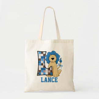 Blue Lion for Boy's Monogram L Tote Bag