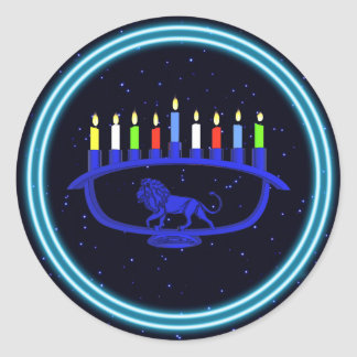 Blue Lion Menorah Classic Round Sticker