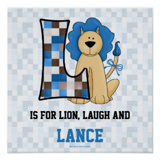 "Blue Lion Monogram ""L"" Baby Room Poster"