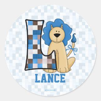 """Blue Lion Monogram """"L"""" Personalized Stickers"""