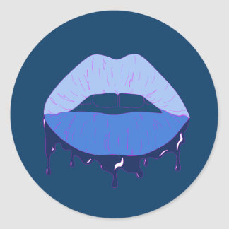 Blue Lips Classic Round Sticker