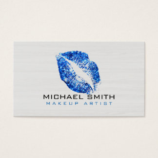 Blue Lips Makeup Artist Modern Wood Business Card