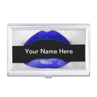 Blue Lipstick Fancy Stylish Chic Makeup Artist Business Card Holders