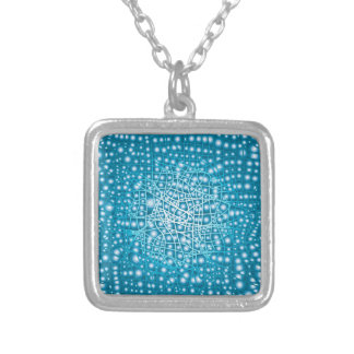 Blue Liquid Background Silver Plated Necklace