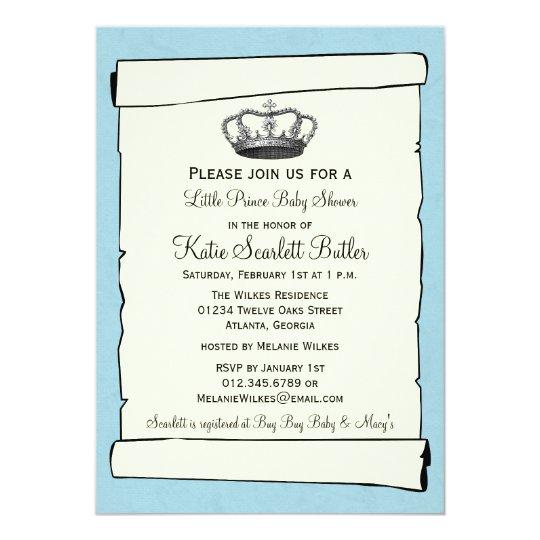 Blue Little Prince Vintage Baby Shower Card