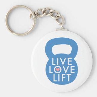 "Blue ""Live Love Lift!"" Basic Round Button Key Ring"
