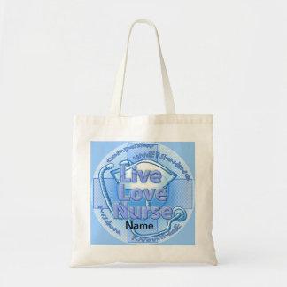 Blue Live Love Nurse budget tote bag