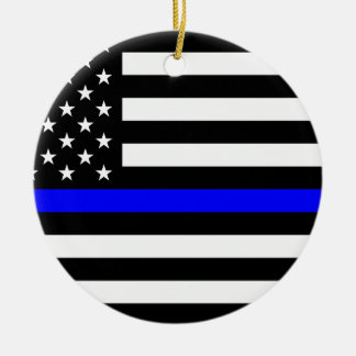 Blue Lives Matter - US Flag Police Thin Blue Line Ceramic Ornament