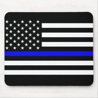 Blue Lives Matter - US Flag Police Thin Blue Line Mouse Pad