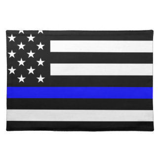 Blue Lives Matter - US Flag Police Thin Blue Line Placemat