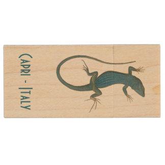 Blue lizard, geko - Capri - Faraglioni Wood USB 2.0 Flash Drive