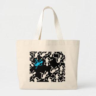 Blue lizard pattern large tote bag
