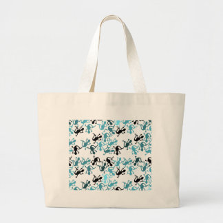 Blue lizards pattern large tote bag