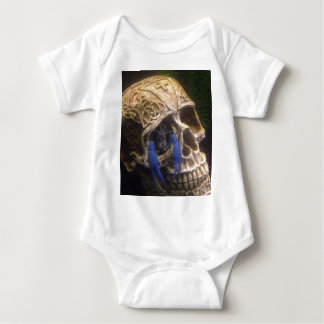 Blue lobster crayfish hanging out in a skull eye baby bodysuit