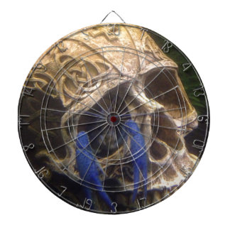 Blue lobster crayfish hanging out in a skull eye dartboard