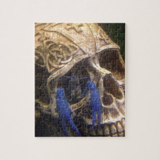 Blue lobster crayfish hanging out in a skull eye jigsaw puzzle