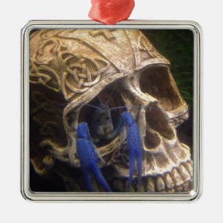 Blue lobster crayfish hanging out in a skull eye metal ornament