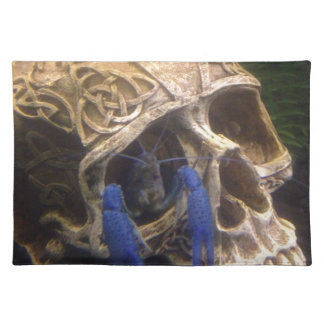 Blue lobster crayfish hanging out in a skull eye placemat