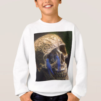 Blue lobster crayfish hanging out in a skull eye sweatshirt