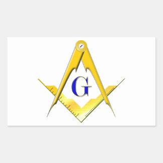 Blue Lodge Square Compasses Rectangle Stickers