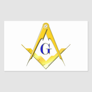 Blue Lodge Square & Compasses Rectangular Sticker