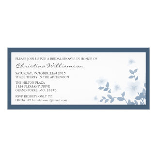 Blue Long Floral Bridal Shower Invitations