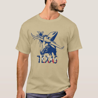 Blue Longhorn Steer with Cowboy Hat and Letters T-Shirt