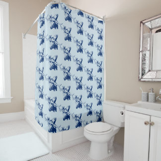 Blue Longhorn Steer with Cowboy Hat Shower Curtain