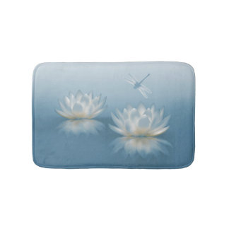 Blue Lotus and Dragonfly Bath Mats