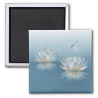 Blue Lotus and Dragonfly Square Magnet